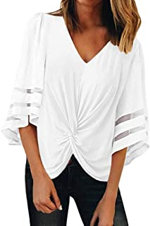 Zegeey Women's 3 4 Bell Sleeves Blouse, Short Sleeve Knot Twist Front Tops Shirts V Neck Tops Loose Tees
