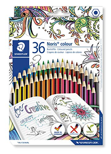 STAEDTLER Bunstifte Noris colour, hohe Bruchfestigkeit, Sechskantform, attraktives Streifendesign, ergonomische Soft-Oberfläche, WOPEX-Material, Set mit 36 leuchtenden Farben im Kartonetui, 185 CD36JB