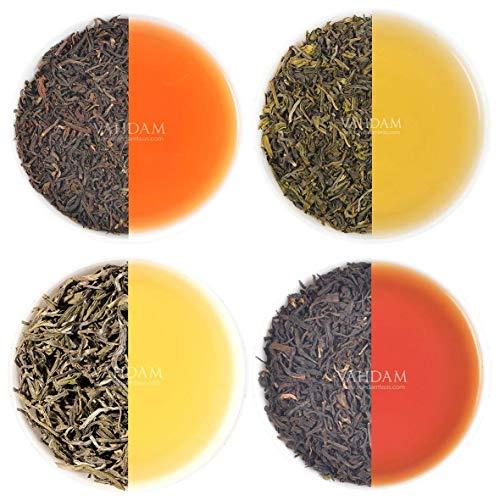 VAHDAM, Earl Grey Tè Sampler (5 TEAS, 50 tazze) Tè nero, tè verde, tè Oolong, tè bianco, tè Chai miscelato con olio di bergamotto naturale   Varietà di tè, tè al bergamotto, tè sfuso