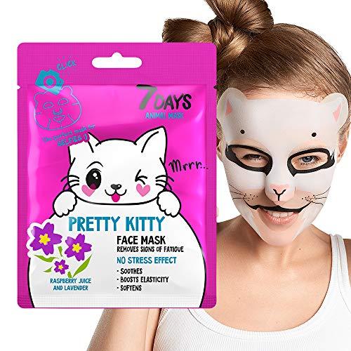 Maschera Animale Per Viso in Tessuto Stampa 1 pz Idratante Tonificante Purificante Energizzante Lisciante Estratti Naturali Lavanda Lampone 28g | 7DAYS