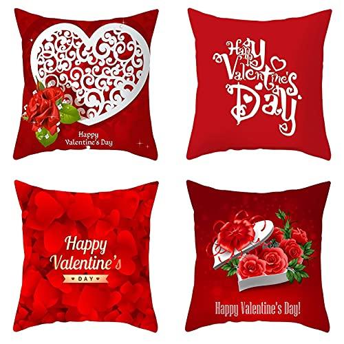 ANAZOZ Funda de Cojín de45x45 cm,Set de 4 Fundas para Cojin,Happy Valentine's Day Flores Funda Cojin de Poliéster Fundas Cojines Blanco Rojo