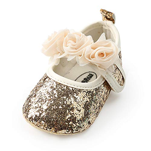 Antheron Baby Girls Mary Jane Flats Soft Sole Infant Moccasins Floral Sparkly Toddler Princess Dress Shoes(Golden 12-18 Month)