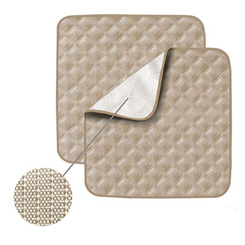 Non-Slip Absorbent Washable Incontinence Pad underpad Seat 4-Layer Design Chair Absorbent Pads Protection - for Seniors, Adult, Children, or Pet Underpad Protection - Set of 2 (Beige)