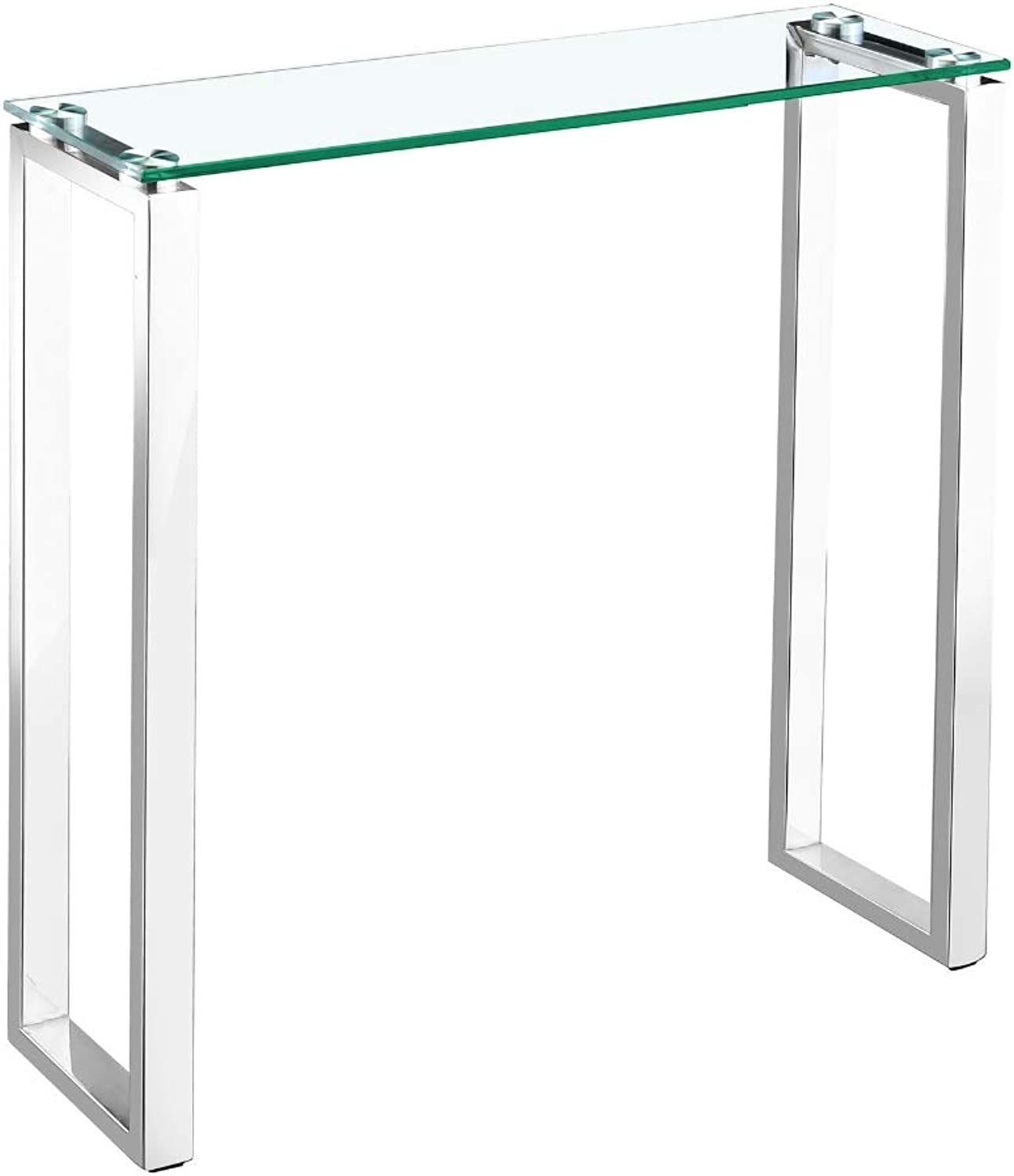 Take Me Home Furniture Hani Console Table (H30x W30x D8) in Chrome with Glass top, Rectangle Legs