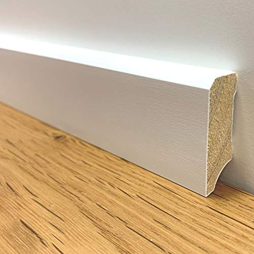 24 m Trevendo® Sockelleiste Massivholz weiß lackiert gefast cube modern 16 x 40 x 2400 mm
