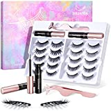DEJAVIA Magnetic Lashes [10 Pairs], Premium Natural Looking Magnetic Eyelashes with Eyeliner Kit,Reusable Lightweight Wispy Strong Magnetic Eyelashes with Applicator and Tweezers, No Glue Needed