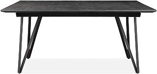 Meubletmoi Table 180/230 cm Extensible rectangulaire céramique et métal Gris Anthracite - Design Contemporain Industriel -...