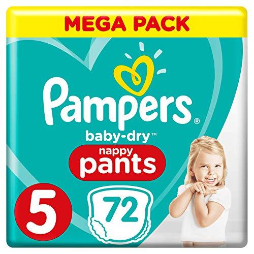Pampers Couches Baby-Dry Taille 5 (12-17kg) Jusquà 12h Bien Au Sec et Avec Double-Barrière Anti-Fuites, 74 Couches (Méga Pack)