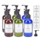 SUNNOW Vastto 8 Ounce Multicolor Glass Refillable Container with 7 Pumps and 10 Labels,Pumb Bottle for Essential Oil,Lotion,Hand Sanitizer,Body Wash,Organic Beauty Products,Set of 6(Deep-hued)