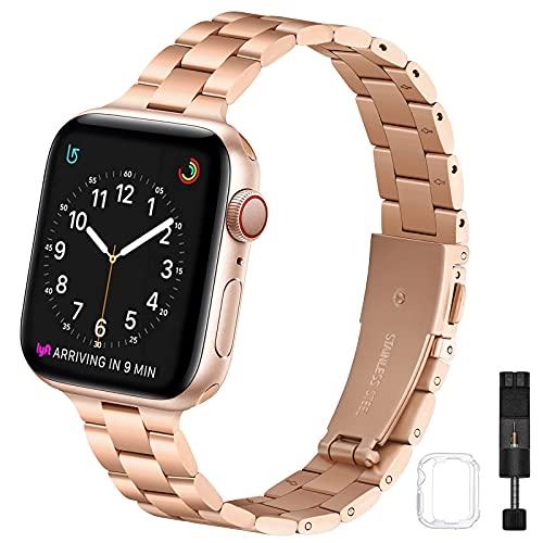 Correa fina compatible con Apple Watch de 40 mm, 38 mm, 42 mm, 44 mm, correa de repuesto de metal inoxidable de alta calidad para iWatch Series 6/5/4/3/2/1 SE, mujeres y hombres