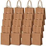 Cooraby 30 Pieces Mini Paper Party Bags 4.72 x 2.36 x 5.9 Inches Small Brown Gift Bag Party Kraft Bags with Handle for Birthday Wedding Parties