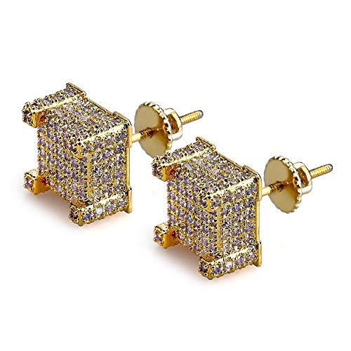 Earring for Mens Iced Out Screw Back Cubist Hypoallergenic Stud Earring For Men and Women Hip Hop Jewelry (gold)