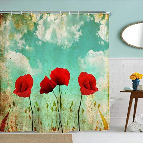 Rustikaler Blumen-Duschvorhang aus Stoff, Retro-Mohnblumen-Naturszene, wasserdichter Stoff, Badezimmer-Duschvorhang mit Haken, 183 x 183 cm