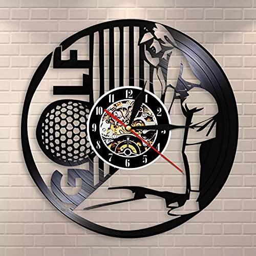 WTTA Reloj de pared retro de vinilo club discográfico femenino golfista deportes estudio campeonato recuerdo regalo