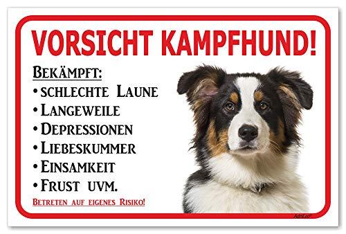 AdriLeo Schild - Vorsicht Australian Shepherd Tri-Color - Kampfhund - (30x40cm) / Aussie Achtung Hund Wachhund