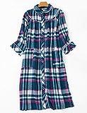 レディースパジャマ シャツワンピース 秋冬 ナイトウェア 部屋着 寝巻き 棉 チェック柄 半长袖 ルームウェア