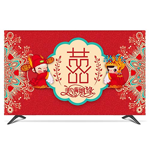 catch-L TV LCD Cubierta De Polvo Protector De Pantalla Boda China Roja Cubierta Antipolvo (Color : B, Size : 40inch)
