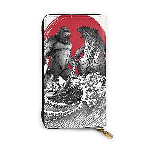 Kong vs Godzilla Cartera de cuero multifuncional de alta capacidad de impresión RFID patrón cremallera carteras largo titular de la tarjeta de crédito para hombres y mujeres