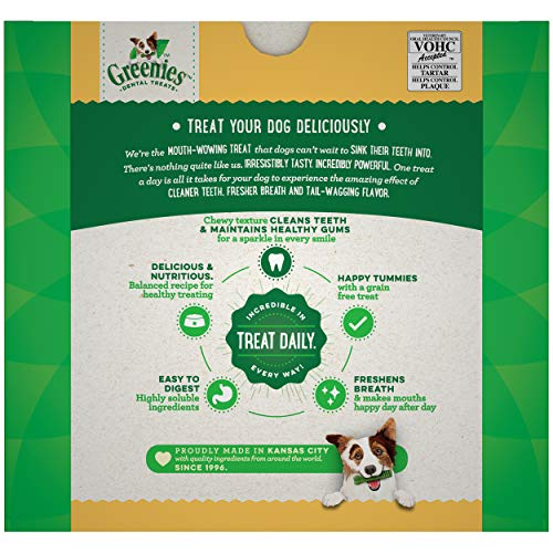 GREENIES Grain Free Petite Natural Dog Dental Care Chews Oral Health Dog Treats, 36 oz. Pack (60 Treats)