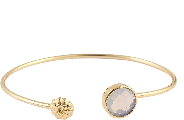 Opalite Quartz Bangle Bracelet Fashionable Round Checker Cut Bracelet With Unique Design Gold Plated Bangle Bracelet For Gift (10 mm) By GUNTAAS GEMS.