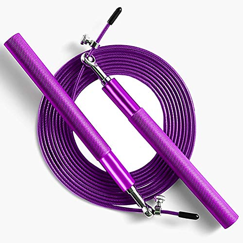 Purple Speed Jump Rope for fitness - Adjustable skipping rope- Tangle-Free-360° Swivel Ball Bearing-Aluminum Anti Skipping Handle -Training Sports Exercises -suitable for kids and adults (Purple)