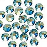 BrillaBenny Cristales pavo real azul Shimmer Green termoadhesivos Hotfix strass decoración artesanal joyas (1400, SS20/5 mm)