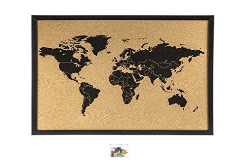 Kork Pinnwand Weltkarte schwarz 60 x 40cm
