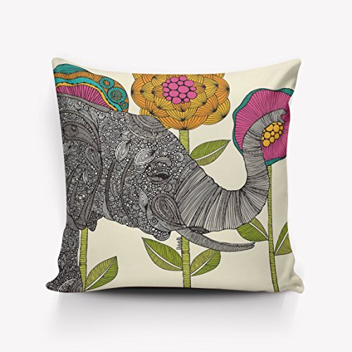 N\A Weiche quadratische Kissenbezüge Niedliche Elefantenblume Home Dekorative Baumwolle Leinen Überwurfkissenbezüge Fall Kissenbezug Dekor für Couch Bed Chair