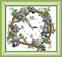 クロスステッチ刺繍キット 図柄印刷 初心者 ホームの装飾 刺繍糸 針 布 11CT Cross Stitch ホームの装飾 アライグマ時計 40X50CM