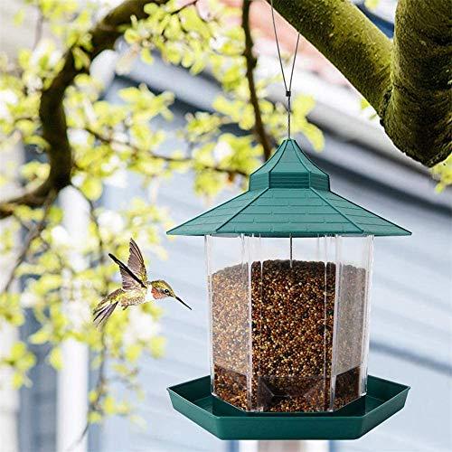 CWWHY Vogelhäuschen Kunststoff Hängend Vogelhäuschen Im Freien Wasserdichter Vogelfutterbehälter Mit Dach Hängenden Vogelhäuschen Für Gartenhofdekoration
