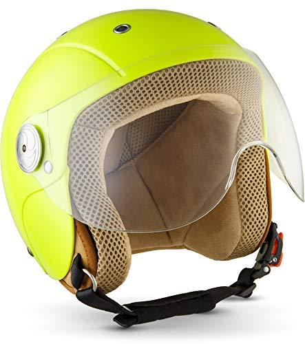 "SOXON® SK-55 ""Neon"" · Kinder Jet-Helm · Motorrad-Helm Kinder-Helm Roller-Helm Kids Scooter-Helm Vespa Bobber Mofa-Helm Chopper Retro · ECE 22.05 Visier Schnellverschluss SlimShell Tasche XS (51-52cm)"