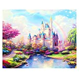 Kimily DIY Paint by Numbers for Adults Kids Disney Castle Paint by Numbers DIY Painting Castle Acrylic Paint by Numbers Painting Kit Home Wall Living Room Bedroom Decoration Disney Rainbow Castle
