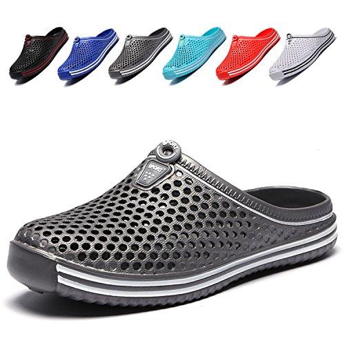 LIGHTEN Garden Shoes Womens Mens Quick-Dry Clogs Comfort Walking Sandals Slippers Non-Slip Beach Shower Water Shoes Grey2 40