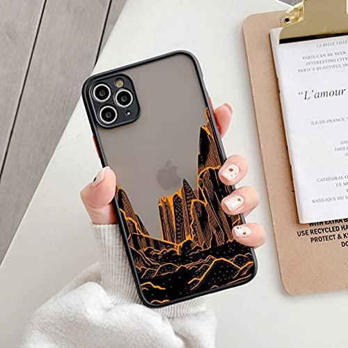 FQSCX Funda para iPhone Patrón de Paisaje Protección de cámara Funda para teléfono para iPhone 11 12 Pro Mini X XR XS MAX 7 8 Plus Se 2020 Cubierta Dura Mate para PC Foriphone11Pro 03