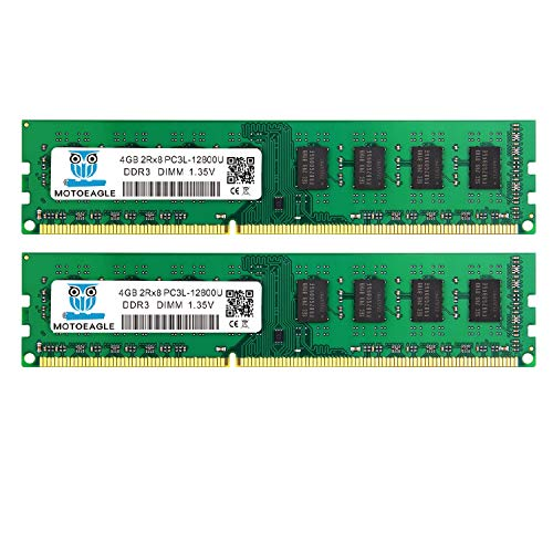 motoeagle 8GB Kit (2x4GB) DDR3L 1600MHz UDIMM PC3-12800 4GB Unbuffered Non-ECC 1.35V CL11 2Rx8 Dual Rank 240 Pin Desktop Arbeitsspeicher