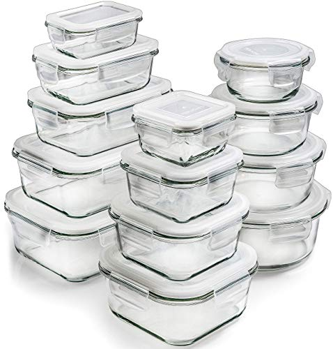 Glass Storage Containers with Lids 13Pack  Glass Food Storage Containers Airtight  Glass Containers with Lids  Glass Meal Prep Containers Glass Food Containers by Prep Naturals