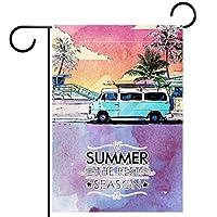 春夏両面フローラルガーデンフラッグウェルカムガーデンフラッグ(12x18in)庭の装飾のため,ビーチ歩道スケッチ スタイルの夏の時間