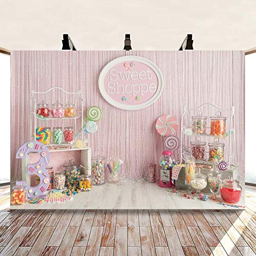 DASHAN 7x5ft Polyester Candyland Backdrop for Birthday Party Sweet Shoppe Candy Jar Shop Candyland Birthday Candyland Dessert Baby Kid Photography Background Lollipop Living Room YouTube Photo Props