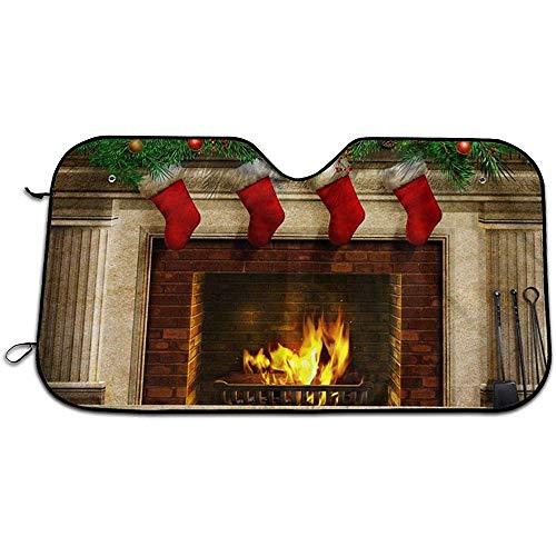 Kerstmis Nieuwjaar Open haard Auto Voorruiten Schaduw Blokken UV Stralen Zonwering Schaduw Zon Schaduw Warmte Isolatie Voorruit Cover 147X118CM
