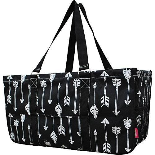 """N. Gil All Purpose Open Top 23"""" Classic Extra Large Utility Tote Bag 2 - Black Arrow"""