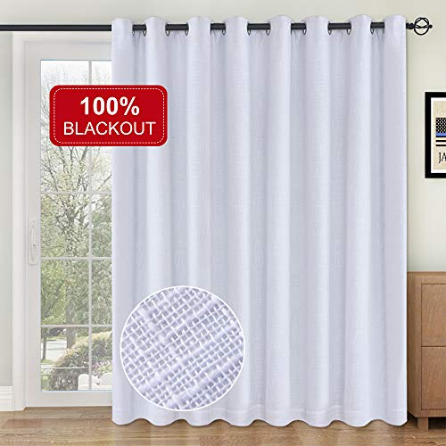 Rose Home Fashion RHF 100% Blackout,Patio Door Curtains,Sliding Door Curtains,Linen Look,Wide Thermal Blackout Curtains,Grommet Curtains,Extra Wide Curtains for Sliding Glass Door-1Panel,100x84 White