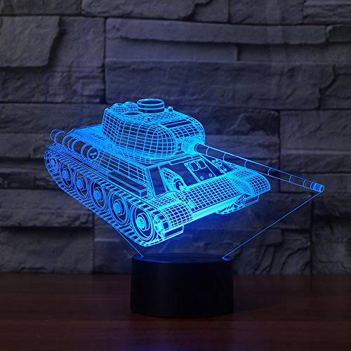 WAGUZA Creative 3d Tanks Night Light Touch Base 7 Color cambiante LED Atmosphere Lamp Visual Table Lamp 3d Decoración del hogar para niños Toy Gift