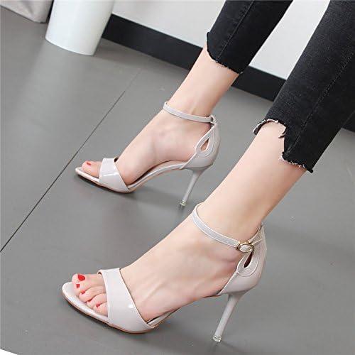 Xue Qiqi tacón alto con sandalias de rocío fino ranurado minimalista tie oro hembra silvestre sandalias