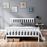 LIFE CARVER <span class='highlight'>Double</span> <span class='highlight'>Bed</span> Wooden <span class='highlight'>Frame</span> White Solid Pine for Adults, Kids, Teenagers (<span class='highlight'>Double</span> <span class='highlight'>Bed</span>)
