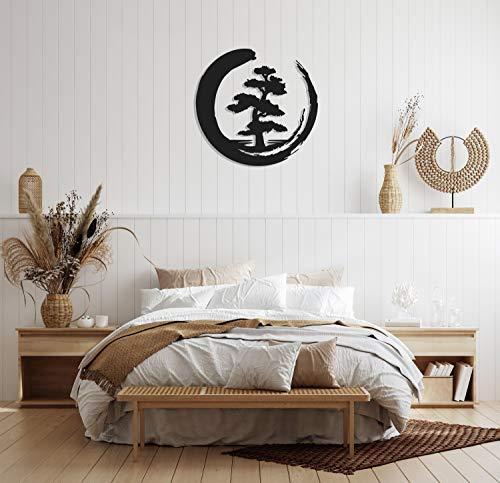 Bonsai Tree Metal Wall Decor Metal Wall Art Enso Circle Tree of Life Metal Wall Art Housewarming Gift Living Room Decor