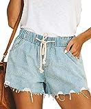 Pofash Women's Casual Drawstring Elastic Waist Frayed Hem Denim Jeans Shorts Light Blue Small