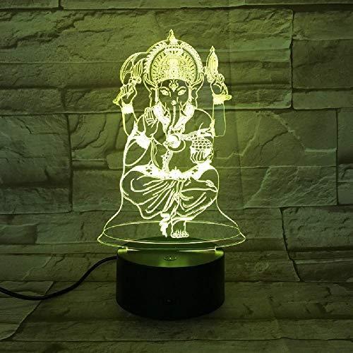 Indische Ganesha 3D Lampe Touch Remote Switch 7 Farbwechsel Glasfaser Licht Bea Home Desk Dekoration Indische Mythologie