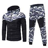 U/A Camouflage Running Sets - Pantalones deportivos para hombre de manga larga con capucha, pantalones ajustados, Hombre, gris, 3XL
