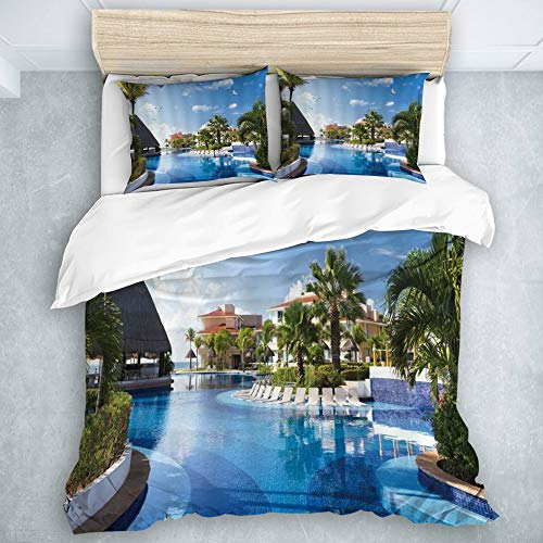 SUHETI Mikrofaser Bettbezug,Ozean Sommer Sunny Resort Seagull Flying Over Feiertags Landhaus Gazebo Palmen Swimmingpool Himmel,Bettwäsche 220x240cm Kissenbezügen 2(50x80cm)