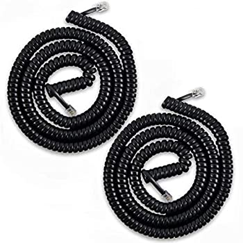 Telephone Cord Handset Cord Telephone Handset Coiled Cord Cable Telephone Spiral Cable 25 ft Uncoiled Black  Pack of 2